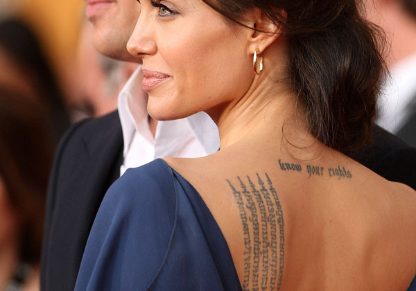 angelina jolie neck tattoo 20 Sexy Angelina Jolie Tattoos