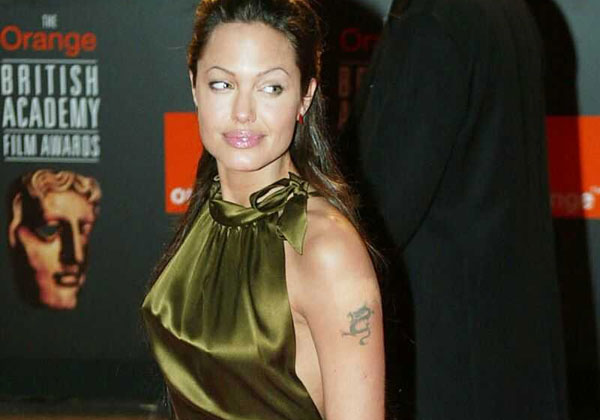 arm tattoo 20 Sexy Angelina Jolie Tattoos
