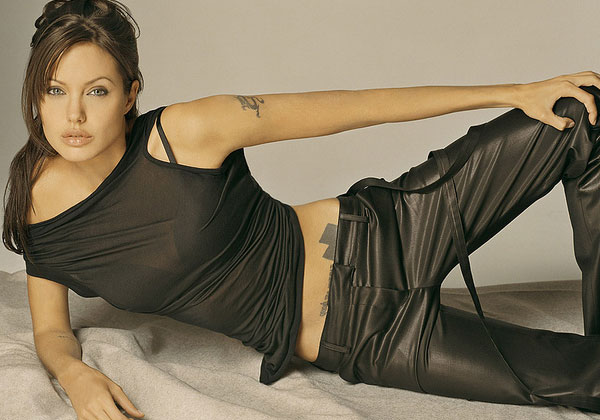black dress 20 Sexy Angelina Jolie Tattoos