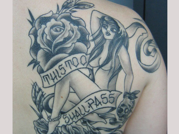 pin up with roses 30 Exotic Black Rose Tattoo Designs