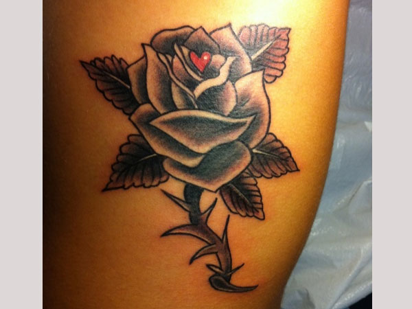 side tattoo 30 Exotic Black Rose Tattoo Designs