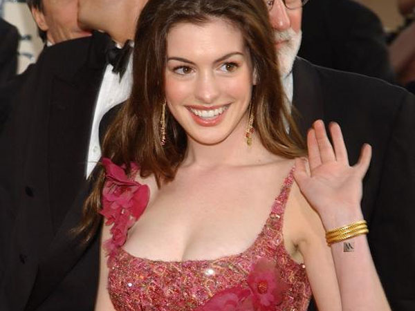 anne hathaway 25 Awesome Celebrity Tattoos Female