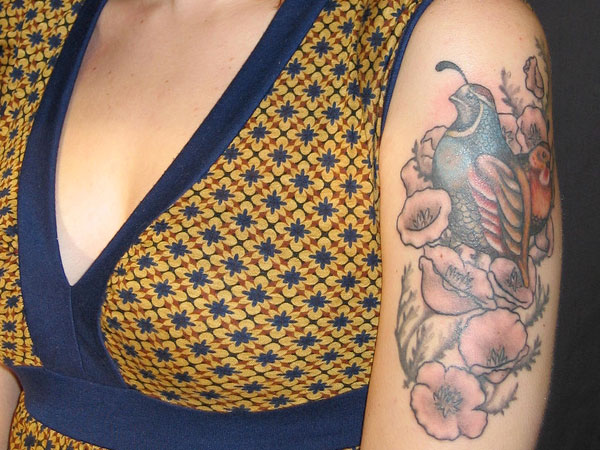 quail and california poppie 50 Hair Raising Feminine Tattoos