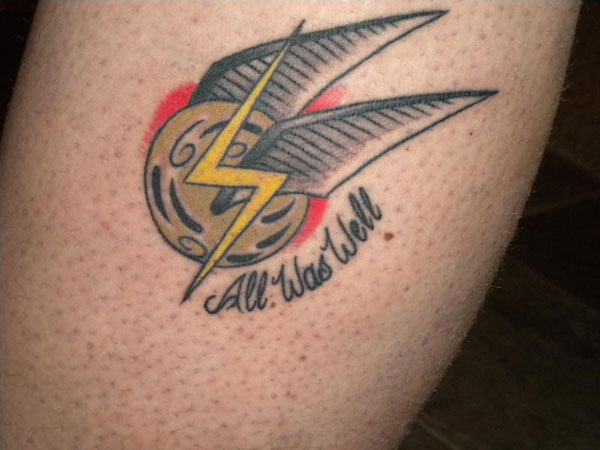 snitch with lighting bolt 45 Splendid Harry Potter Tattoos