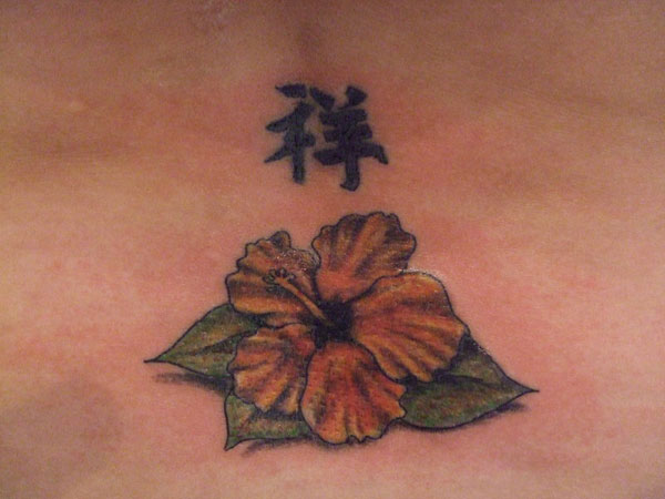 Hibiscus Flower And Chinese Symbol