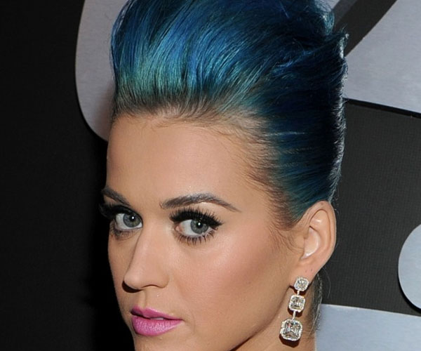 petrol blue updo 30 Sexy Katy Perry Hairstyles