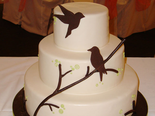 Bird Silhouette Wedding Cake