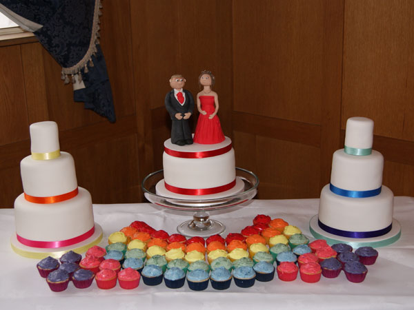 Rainbow Theme Wedding Cake