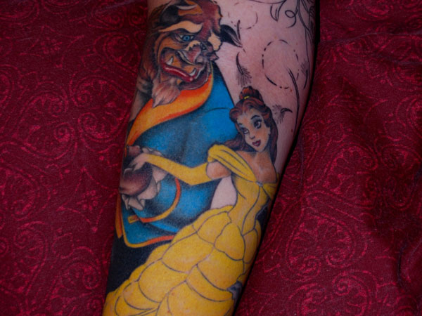 beauty and the beast sleeve 25 Inspirational Arm Sleeve Tattoos