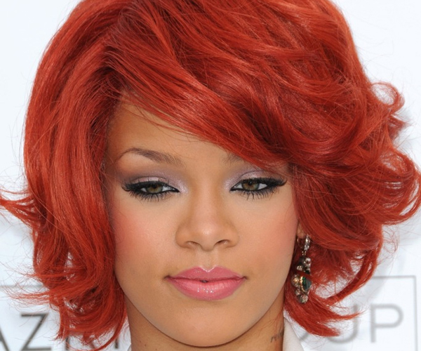 rihanna red hair 30 Spectacular Curly Bob Hairstyles