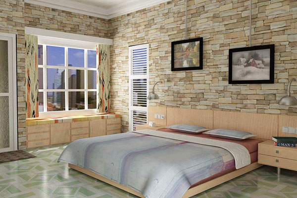 Stone Pattern Bedroom
