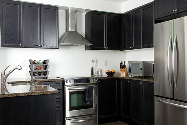 Grey Kitchen Walls with Dark Cabinets