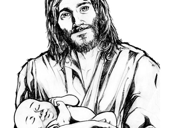 jesus holding baby 30 Magnificent Drawings of Jesus