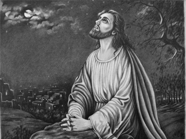 jesus praying at gathsemane 30 Magnificent Drawings of Jesus