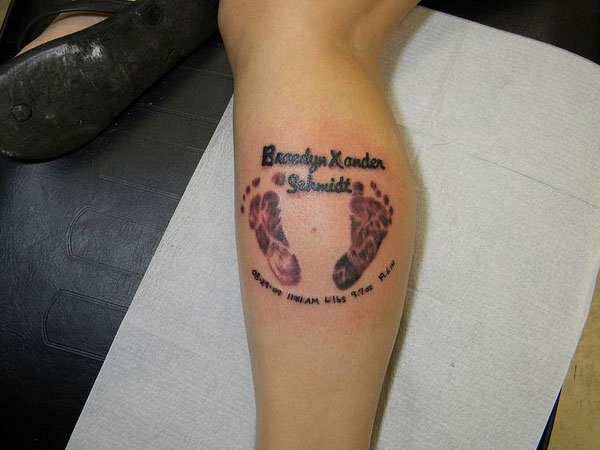 baby footprint tattoo with date 30 Splendid Footprint Tattoos