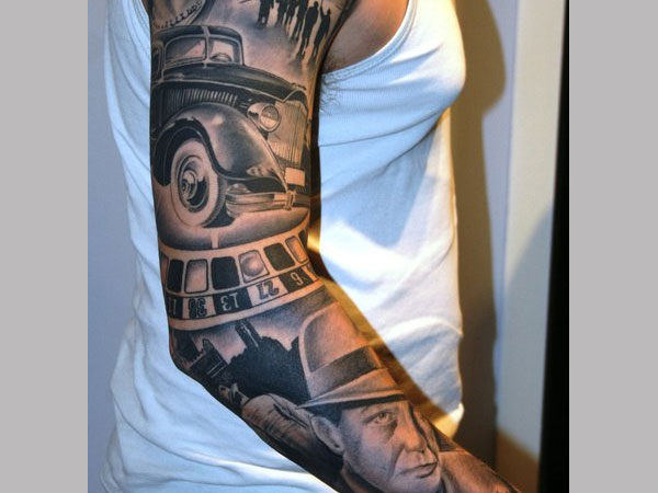gangster theme sleeve 25 Groovy Gangster Tattoos