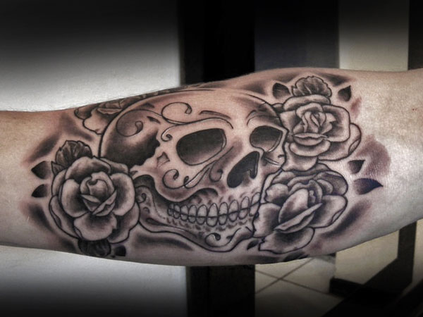 sugar skull and rose tattoo 35 Astounding Mexican Tattoos