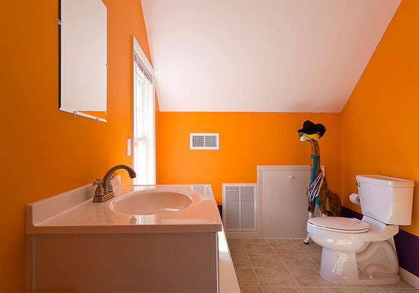 Small Orange Bathroom
