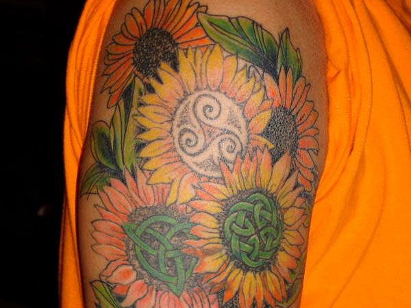 celtic sunflowers 35 Tremendous Sunflower Tattoo Designs