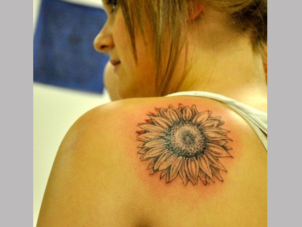 colored sunflower 35 Tremendous Sunflower Tattoo Designs