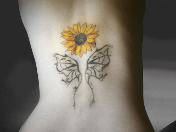 sunflower and butterfly 35 Tremendous Sunflower Tattoo Designs