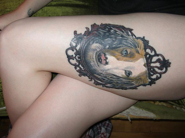 dachshund tattoo 40 Incredible Thigh Tattoos