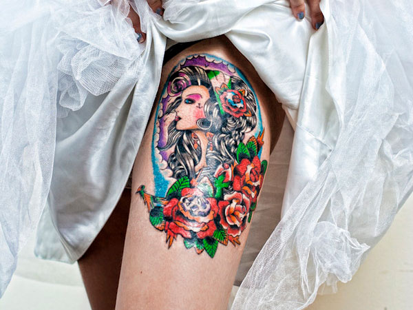 girl tattoo 40 Incredible Thigh Tattoos