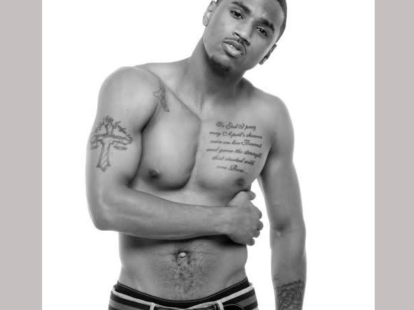 What does the tattoo on Trey Songz's chest say?
