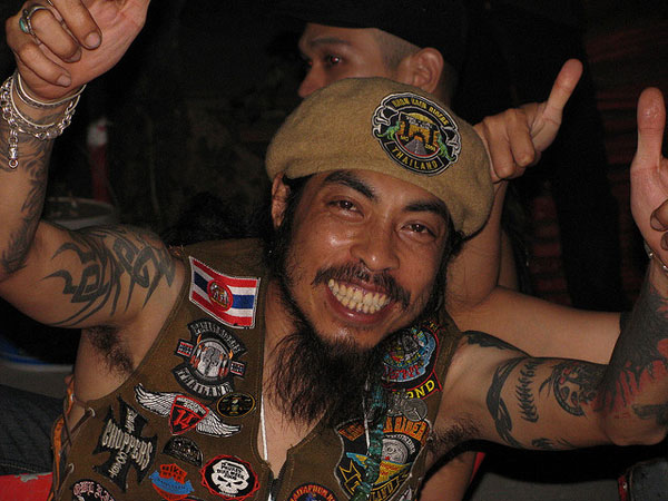 Cheerful Tattooed Biker