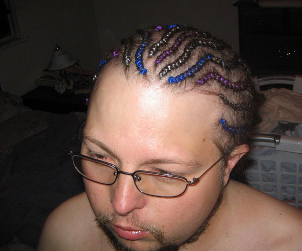 Colorful Cornrow Hairstyle