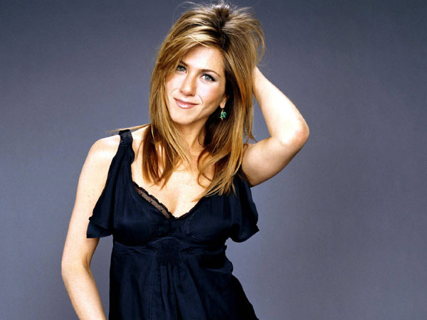 blue dress 40 Exciting Jennifer Aniston Pictures