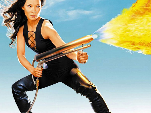 Lucy Liu with Fire Gun
