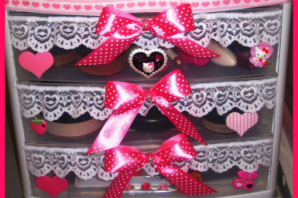 Polka Dotted Bow Storage