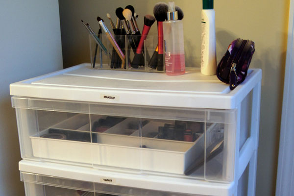 Covered Makeup Storage