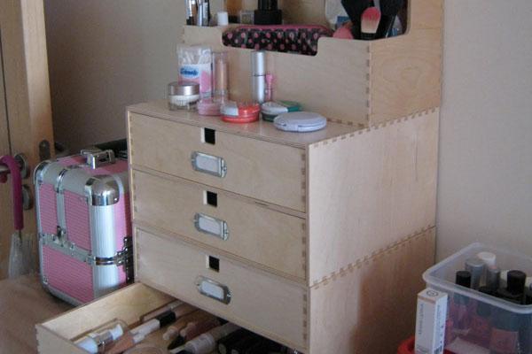Makeup Storage In Wood