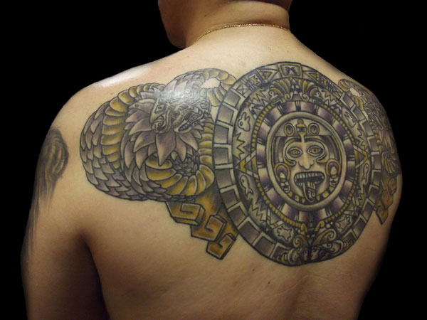 back tattoo 30 Perfect Mayan Tattoos