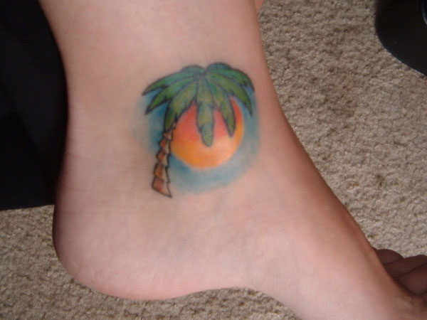 ankle tattoo 25 Spectacular Palm Tree Tattoo Designs