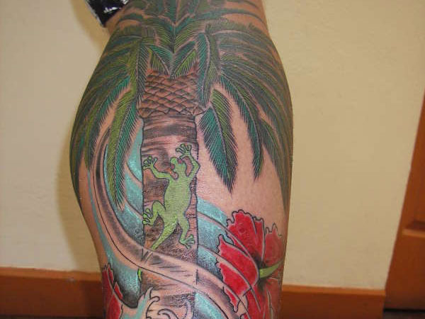 calf tattoo 25 Spectacular Palm Tree Tattoo Designs