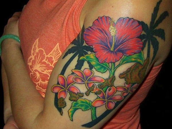 floral theme 25 Spectacular Palm Tree Tattoo Designs