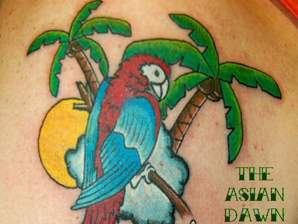 parrot tattoo 25 Spectacular Palm Tree Tattoo Designs