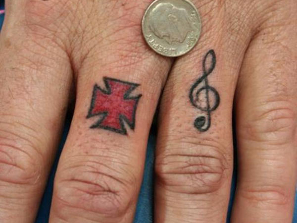treble cleff tattoo 25 Marvelous Ring Finger Tattoos