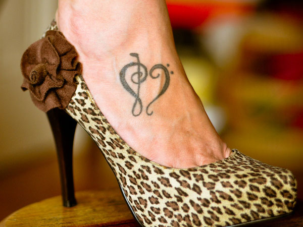 Treble Clef Foot Tattoo
