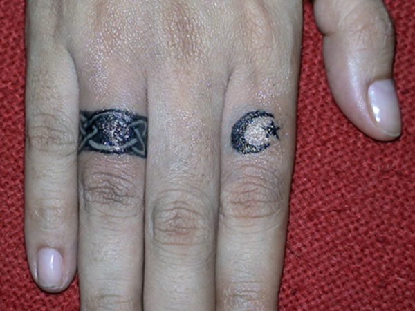 Wedding Ring and Crescent Star