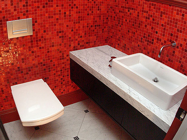 Bathroom Red Mosaic Tiles