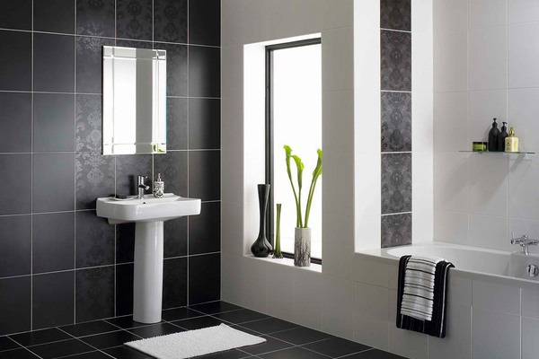black and white designer bathroom