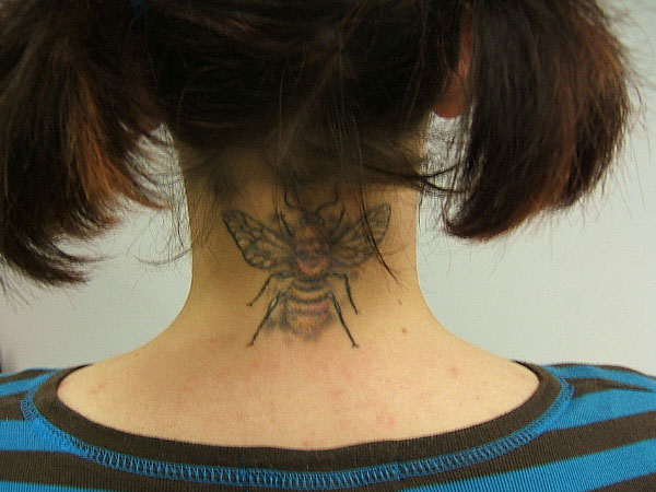 bumble bee tattoo on neck 25 Cool Bumble Bee Tattoo