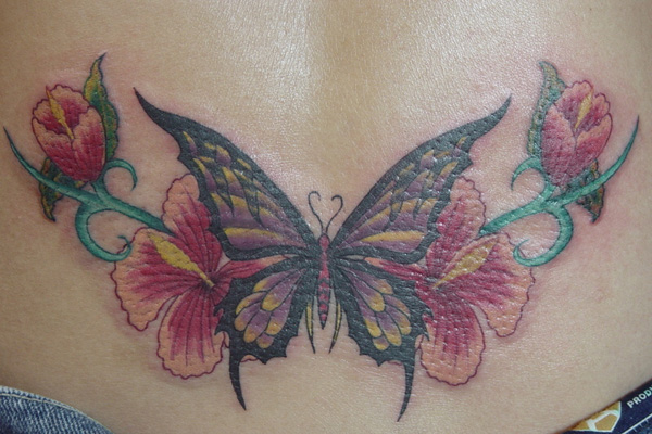 butterfly and flower backpiece 20 Exciting Butterfly and Flower Tattoos