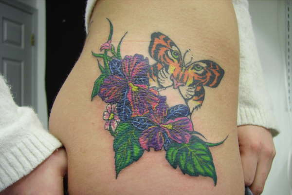 floral tiger butterfly 20 Exciting Butterfly and Flower Tattoos