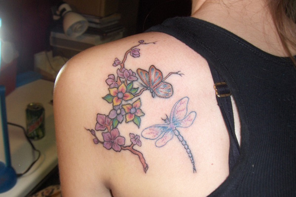 flower dragonfly 20 Exciting Butterfly and Flower Tattoos