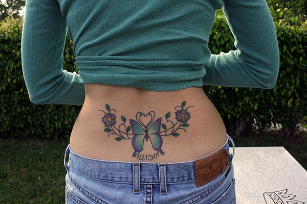 lower back butterfly 20 Exciting Butterfly and Flower Tattoos